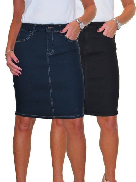 Ladies Stretch Denim Above Knee Jeans Skirt