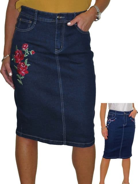 Ladies Stretch Denim Jeans Skirt With Embroidered Floral Detail