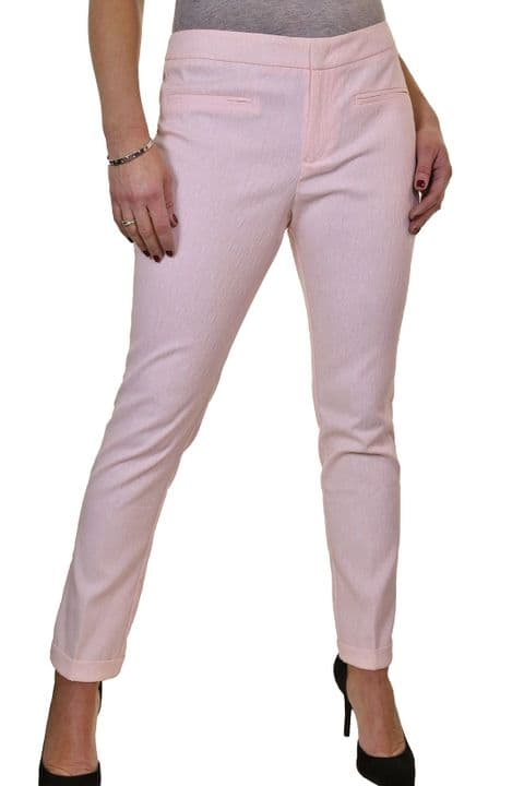 Ladies Tapered Leg Slim Fit Pink Trousers