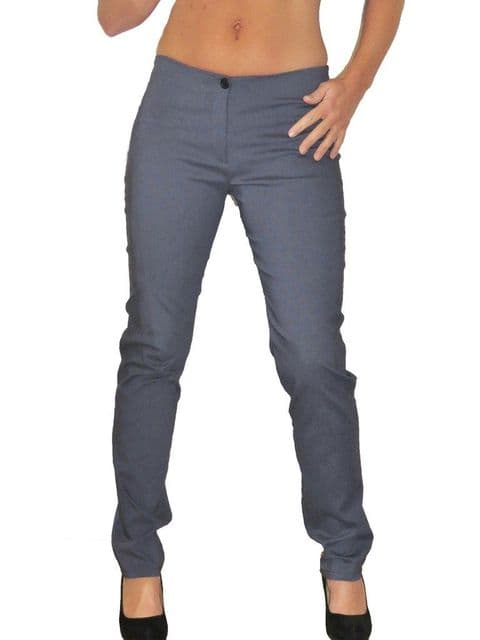Low Waist Stretch Skinny Trousers Denim Look