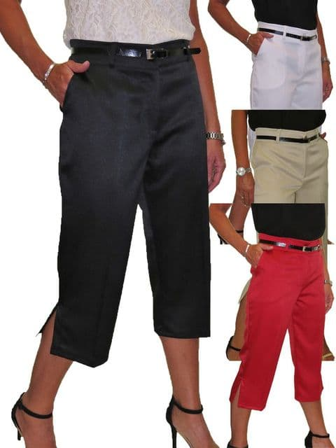 Smart Belted Crop Trousers In Matt Satin