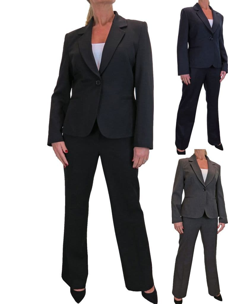 Womens Smart Business Jacket Trouser Suit