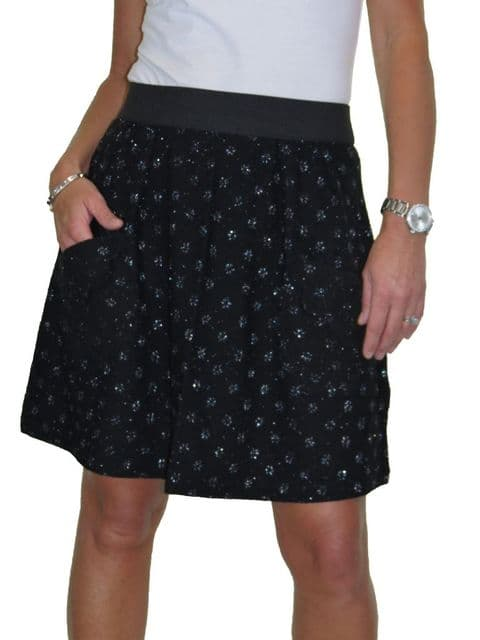 Soft Sparkle Lace All Over Party Mini Skirt Black