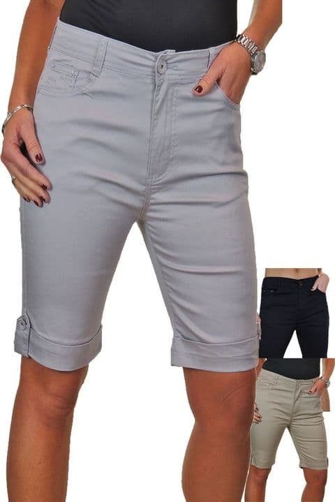 Stretch Jeans Shorts With Turn Up Cuff