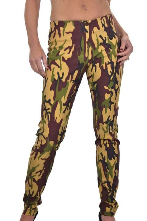 Stretch Skinny Trousers Camouflage Print