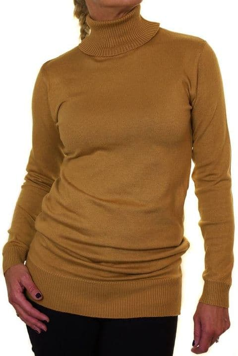 Thin Fine Knit Roll Neck Long Jumper