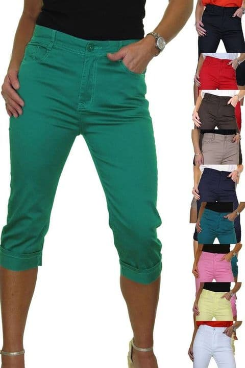 Turn Up Cuff Jeans Chino Stretch Capri Cropped