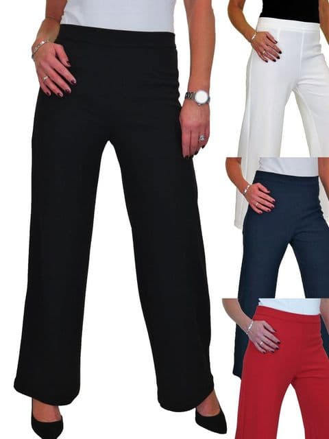 Wide Leg High Waisted Stretch Crepe Trousers
