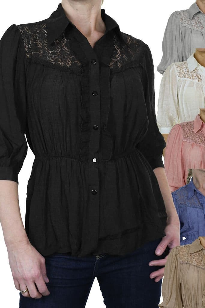 Womens Crochet Lace Shirt Top With Frill Detail