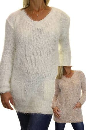 Womens Fluffy Knit Tunic Jumper With Pockets