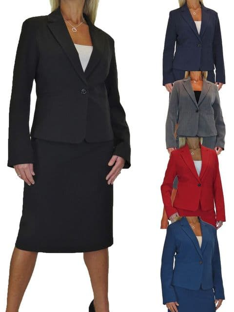 Womens Fully Lined Business Skirt Suit