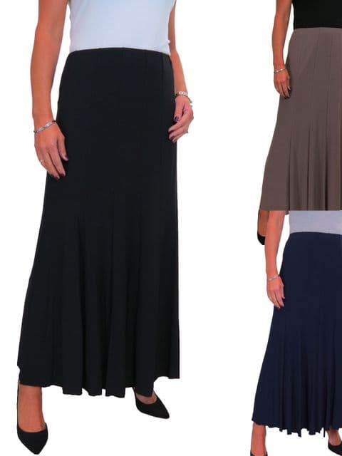 Womens Fully Lined Stretch Long Maxi Skirt