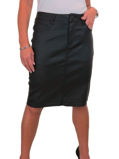 Womens Matte Faux Leather Look Skirt