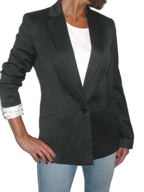 Womens Smart Tailored Pinstripe Blazer Jacket