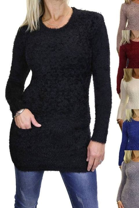 Womens Stretch Textured Knit Jumper With Pockets