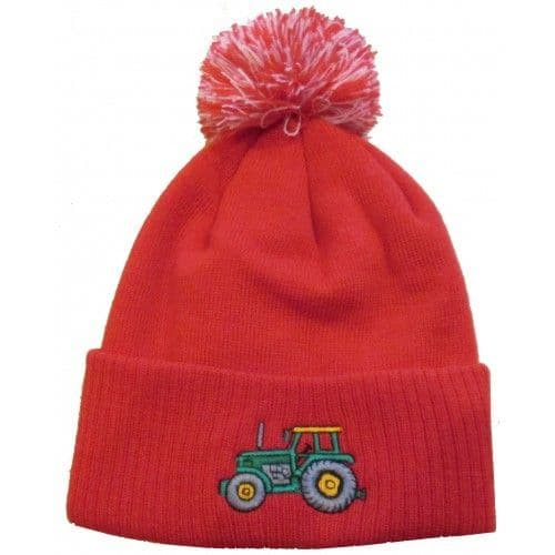 British Country Collection Red Pompom Hat with Green Tractor