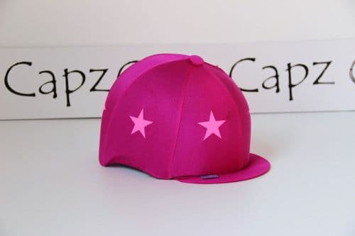 Capz Lightz Hi-Viz Hat Cover with Stars in Cerise/Fluorescent Pink