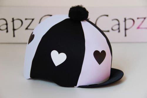 Capz Lycra Heart Hat Cover with Pom Pom in Black/White
