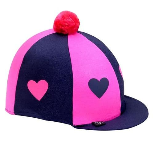 Capz Lycra Heart Hat Cover with Pom Pom in Navy/Pink