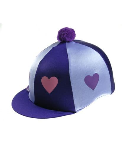 Capz Lycra Heart Hat Cover with Pom Pom in Purple/Lilac