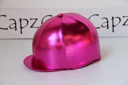 Capz Lycra Metallic Cap Cover in Cerise