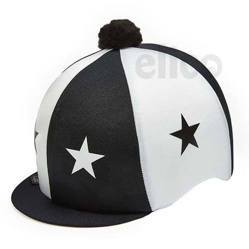 Capz Lycra Star Hat Cover with Pom Pom in Black/White