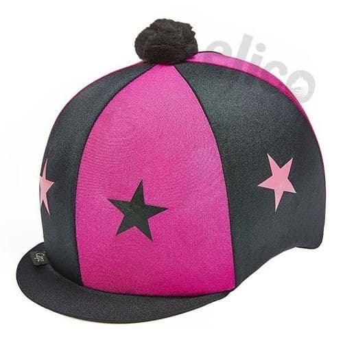 Capz Lycra Star  Hat Cover with Pom Pom in Cerise/Black