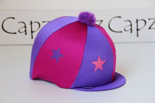 Capz Lycra Star Hat Cover with Pom Pom in Cerise/Purple