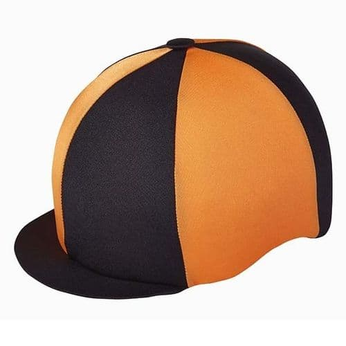 Capz Quartered Lycra Hat Cover in Black/Orange