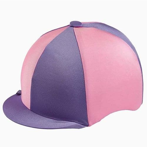 Capz Quartered Lycra Hat Cover in Lilac/Pink