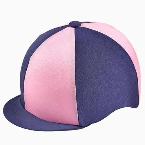 Capz Quartered Lycra Hat Cover in Navy/Pink