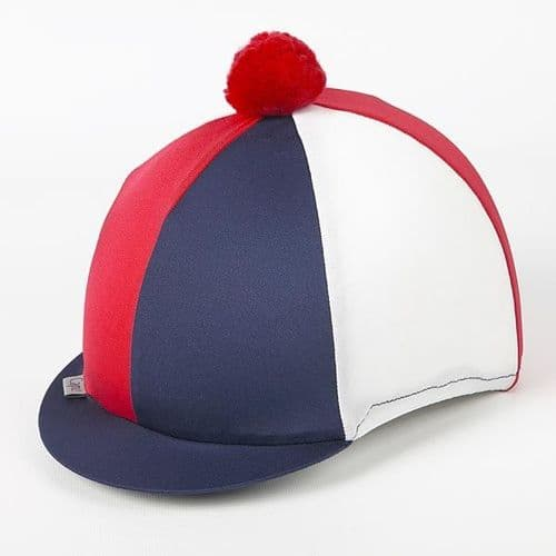 Capz Tri Colour Lycra Skull Cover in Navy/Red/White