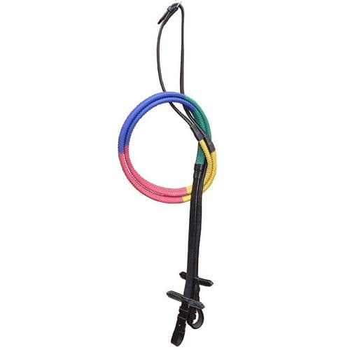 Elico Multicoloured Pony Rubber Reins in Black