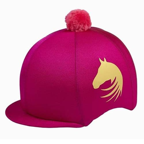 Elico Signature Lycra Hat Cover in Cerise/Gold