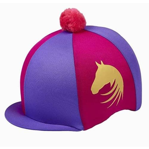 Elico Signature Lycra Hat Cover in Purple/Cerise/Gold