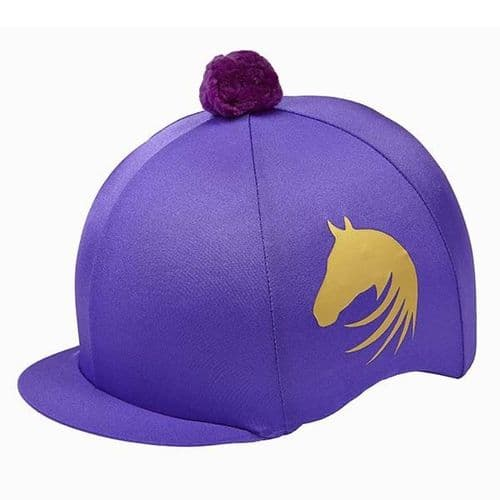 Elico Signature Lycra Hat Cover in Purple/Gold
