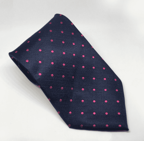 Equetech Polka Dot Show Tie in Navy/Cerise