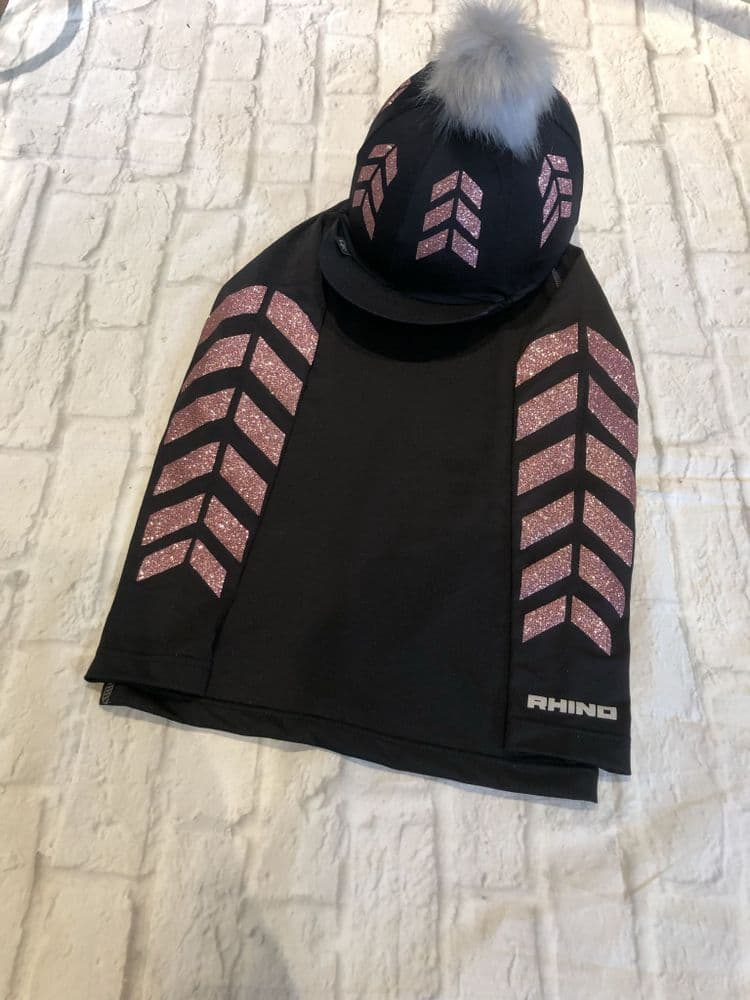 Glitter Rose Gold Chevron Base Layer & Hat Cover Set