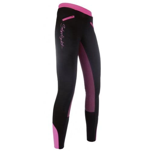 HKM Silicone Full Seat Starlight Riding Leggings in Black/Pink