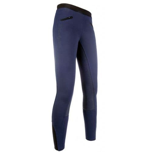 HKM Silicone Full Seat Starlight Riding Leggings in Deep Blue/Black