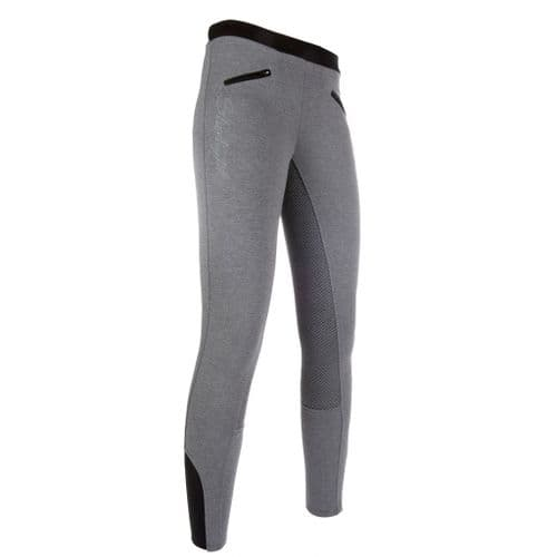 HKM Silicone Full Seat Starlight Riding Leggings in Light Grey/Black