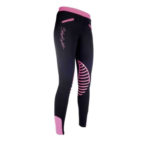 HKM Silicone Knee Patch Starlight Riding Leggings in Black/Pink