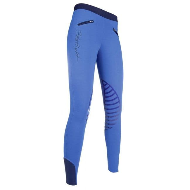 HKM Silicone Knee Patch Starlight Riding Leggings in Blue/Dark Blue