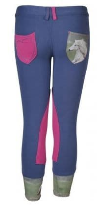 Horka 'Mathilda' Junior Breeches with Knee Patches in Blue Ice