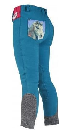 Horka 'Mathilda' Junior Breeches with Knee Patches in Petrol Blue