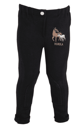 Horka 'Minis' Junior Jodhpurs with Knee Patches in Black