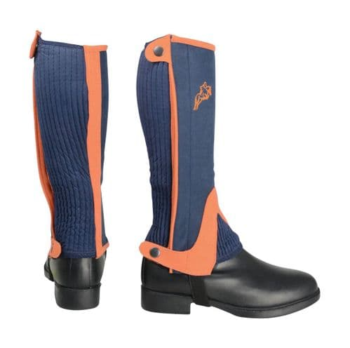 HyLand Two Tone Amara Child's Half Chaps in Navy/Orange