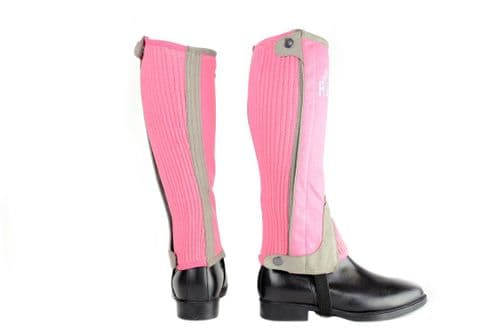 HyLand Two Tone Amara Child's Half Chaps in Pink/Grey