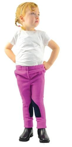HyPERFORMANCE Fleece Tots Jodhpurs in Pretty Pink/Navy