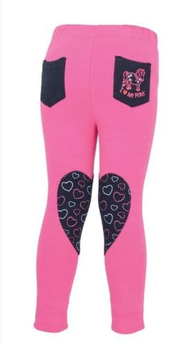 HyPERFORMANCE Heart Tots Jodhpurs in Hot Pink/Navy